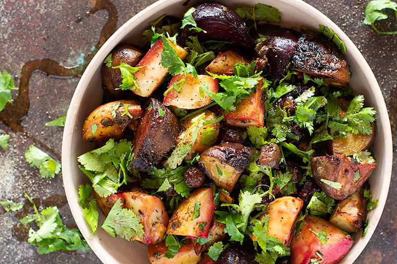 jessica cox | slow roasted beet & potato salad w preserved lemon, capers & olives