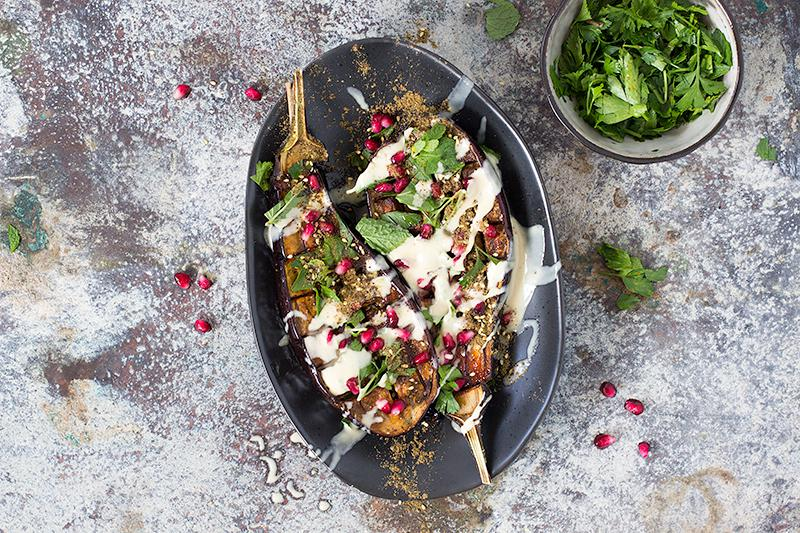 jessica cox | roasted eggplant w date syrup and tahini dressing