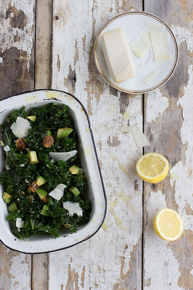 jessica cox | massaged kale salad w avocado, fig + seeds