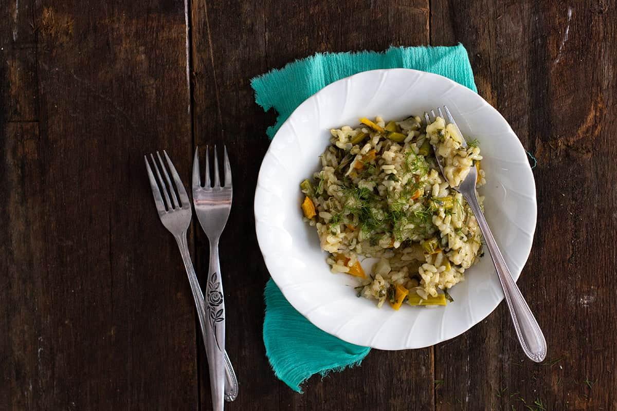 fennel, asparagus & capsicum risotto