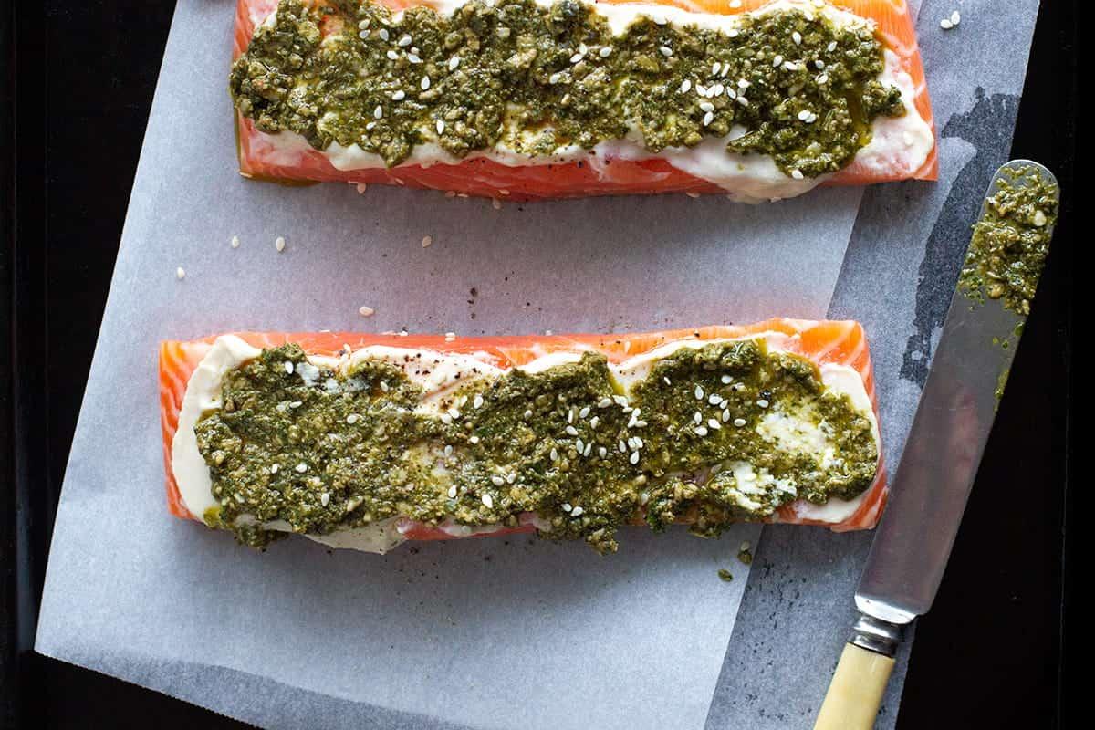 baked coriander pesto salmon