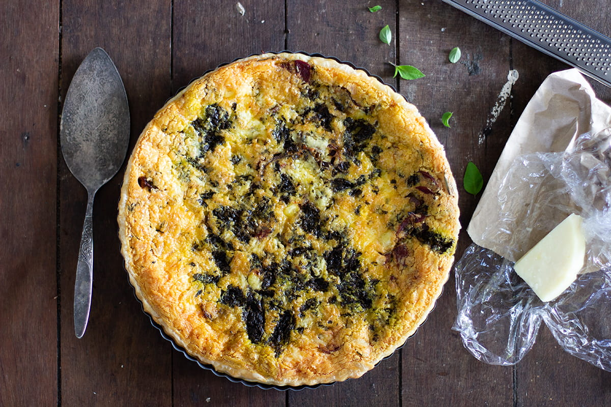 Caramelised Onion, Goats Cheese Cauliflower Quiche