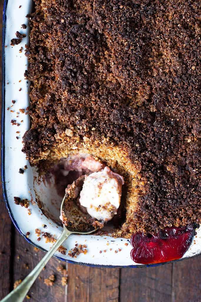 gluten free rhubarb, apple & ginger crumble