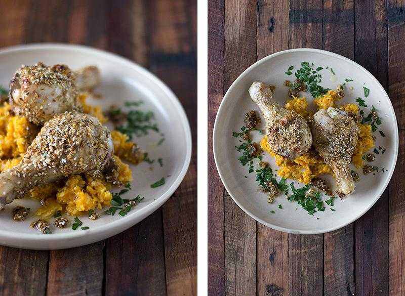 jessica cox | dukkah & lemon roast chicken drumsticks w cauliflower + pumpkin mash