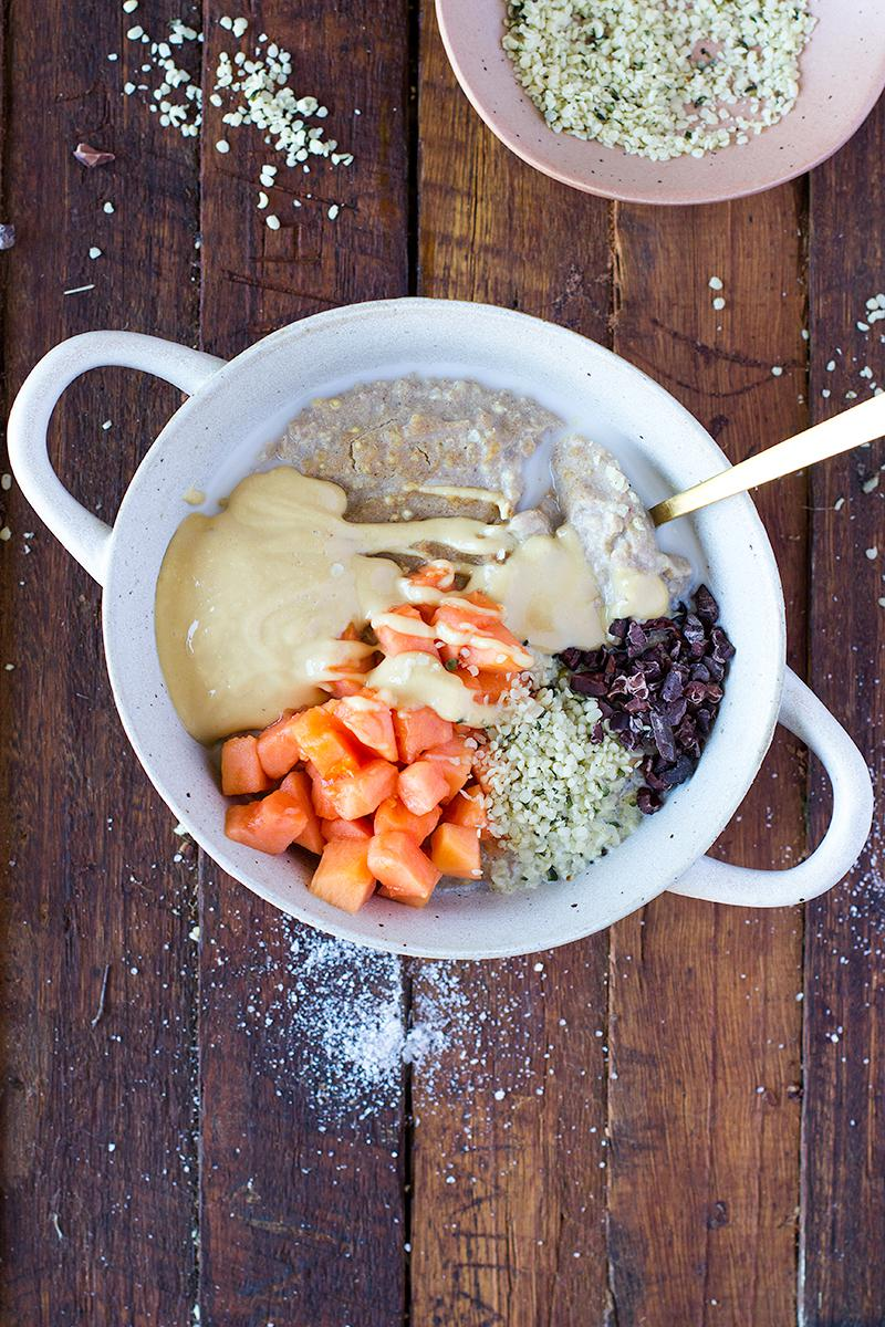 jessica cox | salted caramel porridge w hemp seeds, papaya + peanut butter