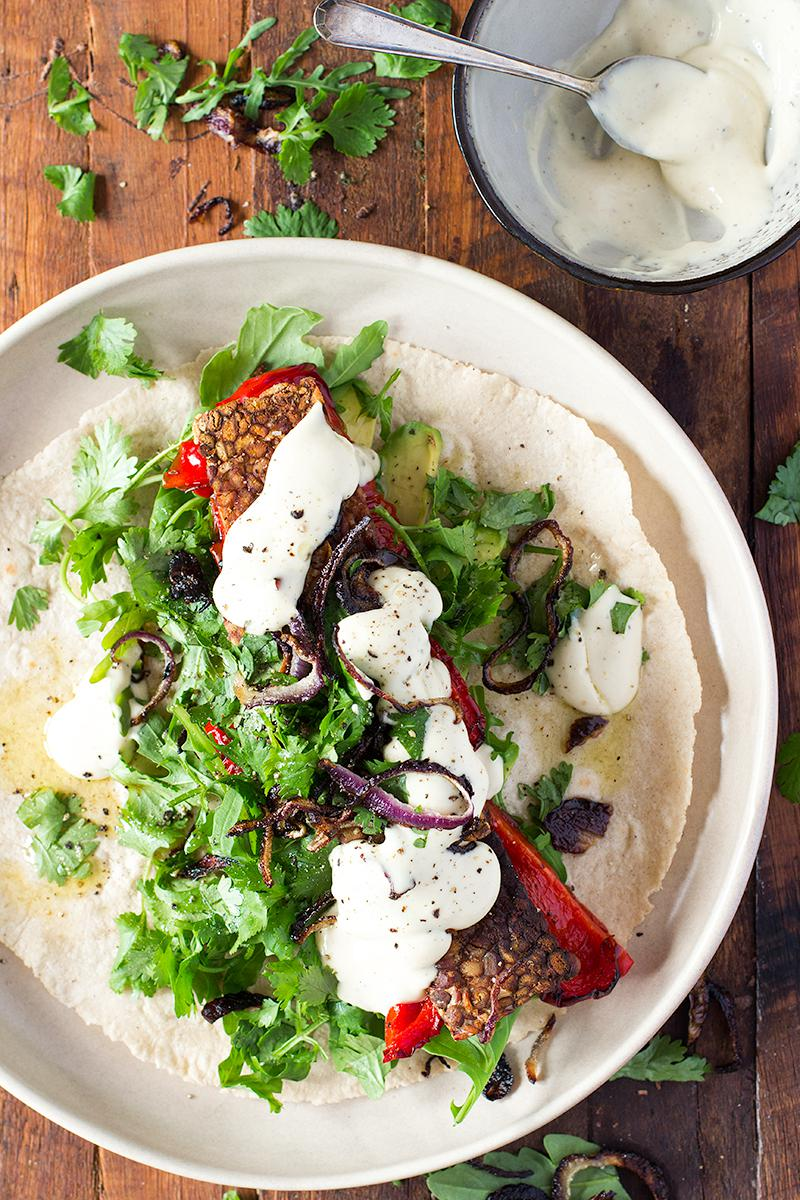 jessica cox | tempeh, crispy onion & roast capsicum wraps + homemade whole egg mayo