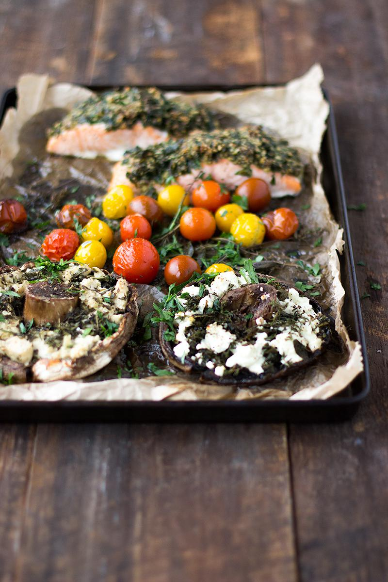 jessica cox | herb crusted salmon tray bake with stuffed mushrooms (2 ways)