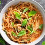 vegan low fodmap roast tomato & basil pasta