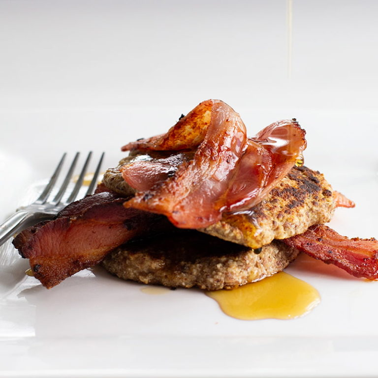 Oat Pancakes with Maple Bacon