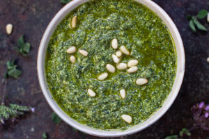 oregano and basil pesto