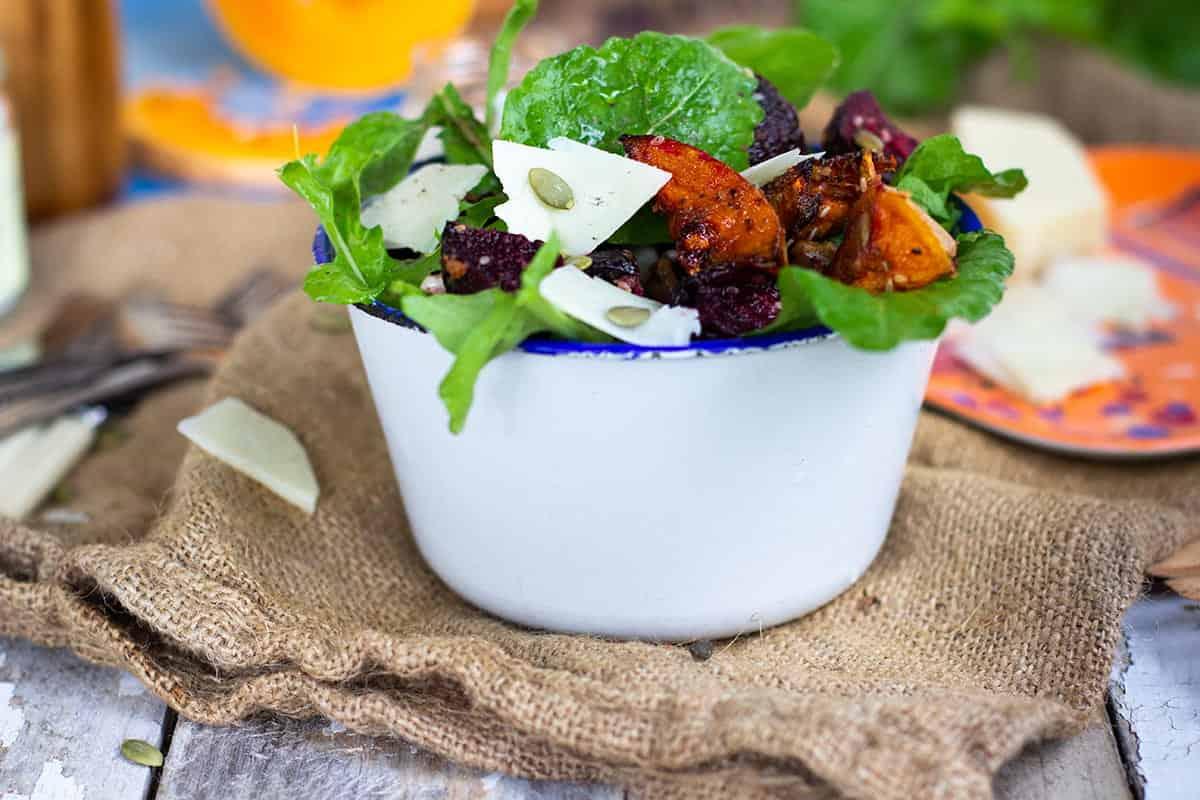 roast pumpkin, beet & cannellini bean salad